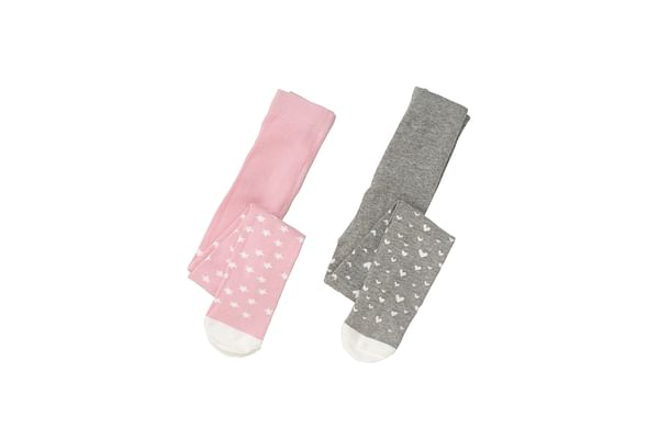Girls Star And Heart Tights - 2 Pack - Multicolor