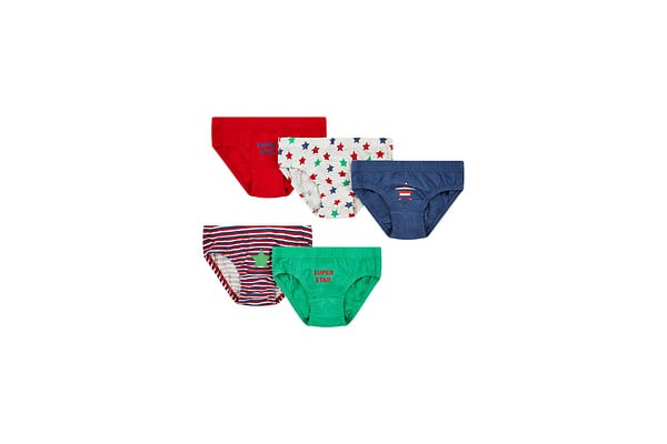 Boys Star And Stripe Briefs - 5 Pack - Multicolor
