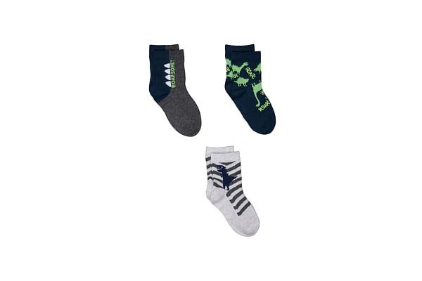 Boys Dino And Star Socks - 3 Pack - Multicolor