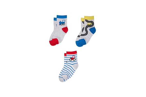 Boys Trains And Tractors Socks - 3 Pack - Multicolor