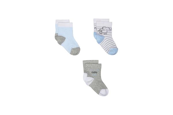Boys Elephant Socks - 3 Pack - Blue