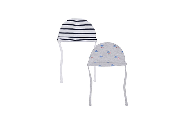 Boys Stripe And Whale Hats – 2 Pack - Grey