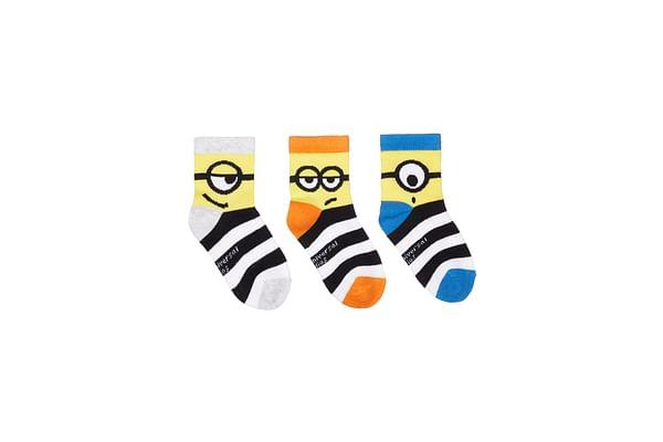 Boys Minion Socks - 3 Pack - Multicolor