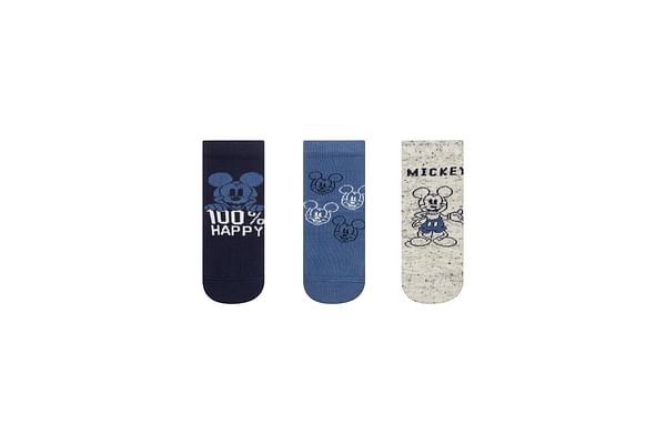 Boys Mickey Mouse Socks - 3 Pack - Blue