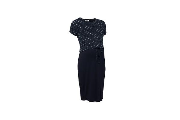 Women Polka - Dot Nursing Dress - Navy