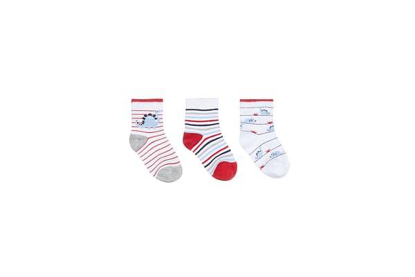 Boys Dino Stripe Socks - 3 Pack - Navy, Red & White