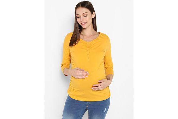 Momsoon women maternity three-fourth sleeves top- Yellow