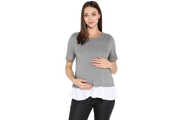 Momsoon women maternity half sleeve top- Grey