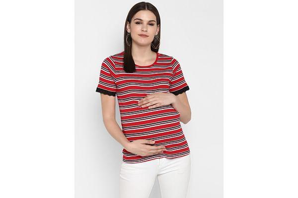 Momsoon women maternity half sleeve top-Striped Red