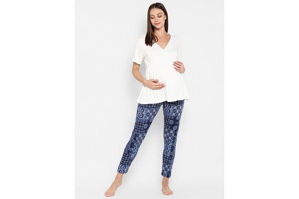 Momsoon women maternity half sleeve pyjama sets- Multicolor