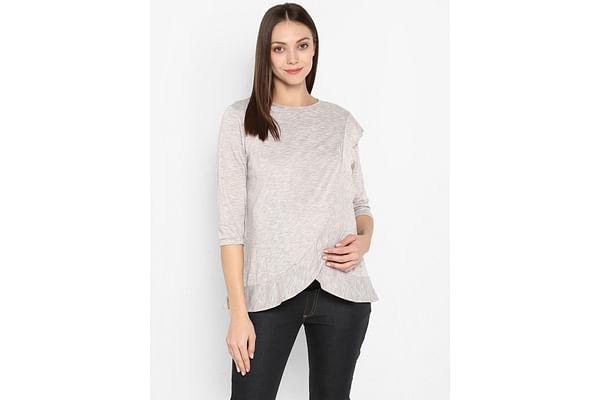 Momsoon women maternity three-fourth sleeves top- Beige