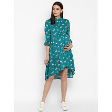 Momsoon women maternity three-fourth sleeves casual dress-printed Teal