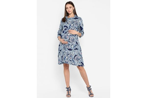 Momsoon women maternity three-fourth sleeves casual dress-Printed Blue