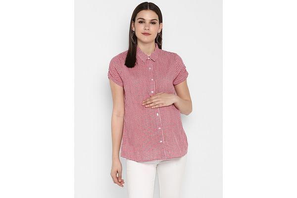 Momsoon women maternity half sleeve top-Check Red