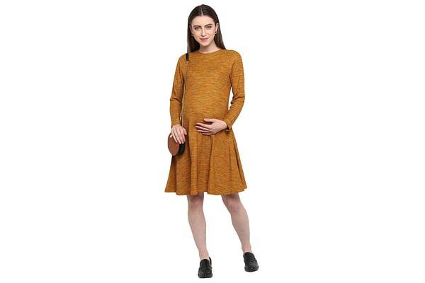 Momsoon women maternity full Sleeves casual dress- Yellow