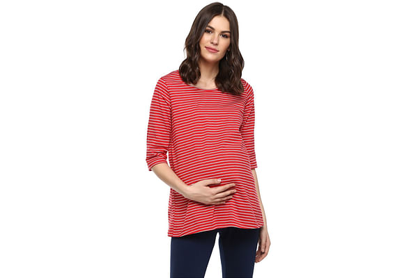 Momsoon women maternity three-fourth sleeves top-Striped Red