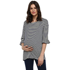 Momsoon women maternity three-fourth sleeves top-Striped Blue