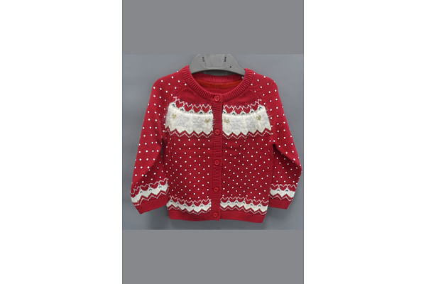 Red Fair Isle Knitted Cardigan