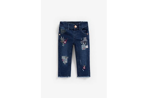 Girls Jeans Floral Embroidery - Blue
