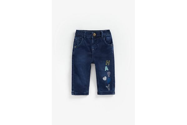 Girls Jeans Text Embroidery - Blue