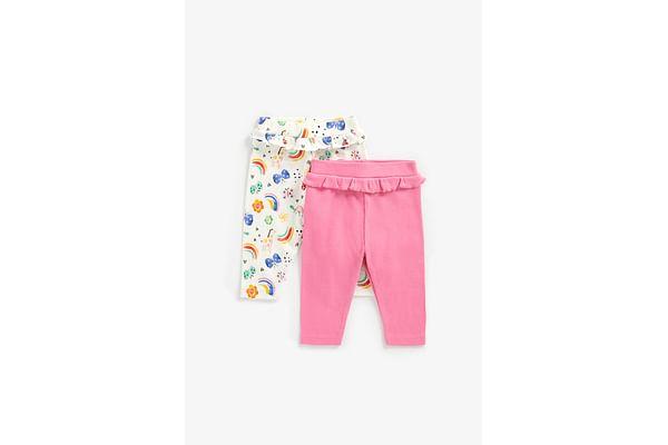 Girls Printed Leggings Frill Detail - Pack Of 2 - Multicolor