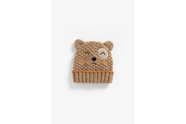 Boys Beanie Embroidered And 3D Ear Detail - Beige