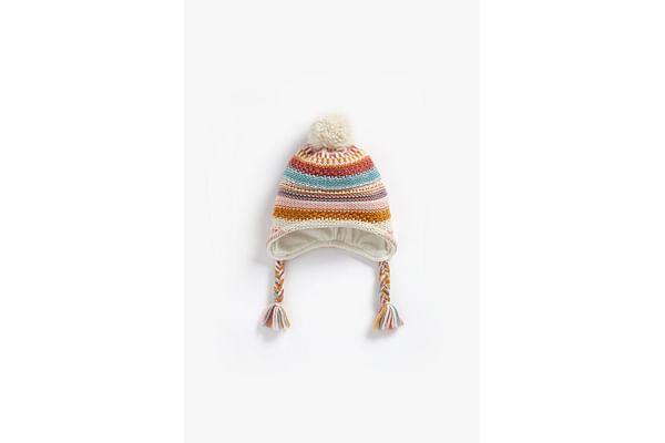 Girls Fleece Lined Beanie Striped - Multicolor