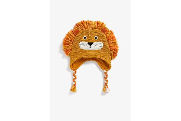 Boys Beanie 3D Lion Detail - Orange