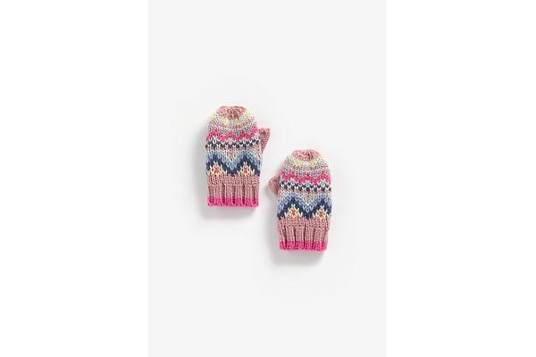 Girls Gloves Fair Isle Design - Pink