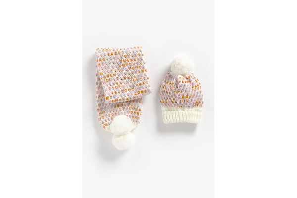 Girls Hat And Scarf Set Chunky Knit - Multicolor