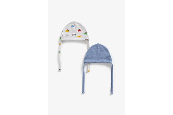 Boys Hats With Ties Dino Print - Pack Of 2 - Multicolor