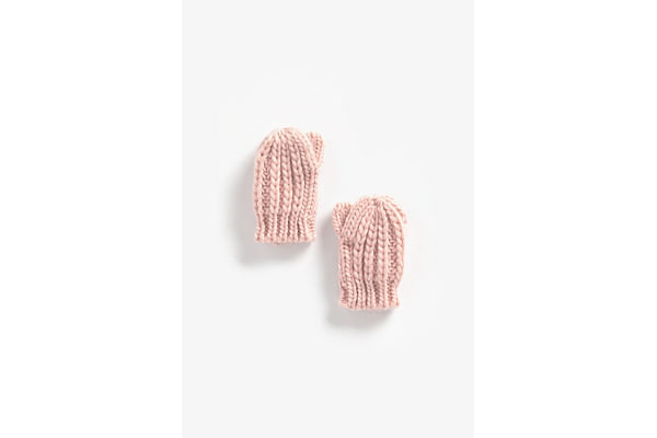 Girls Gloves Cable Knit - Pink