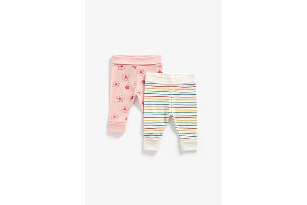 Girls Joggers Printed And Striped - Pack Of 2 - Multicolor