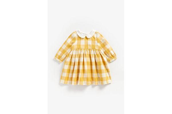 Girls Full Sleeves Collared Dress Checks - Mustard