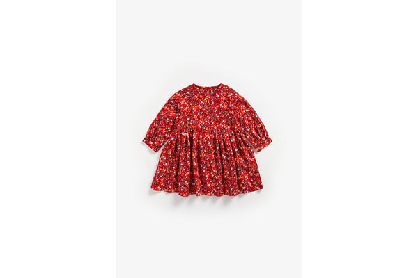 Girls Full Sleeves Dress Floral Print - Red