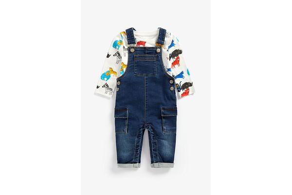 Boys Full Sleeves Denim Dungaree Set Animal Print - Blue