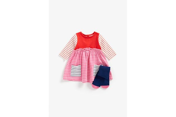 Girls Full Sleeves Dress And Tights Set Striped - Multicolor