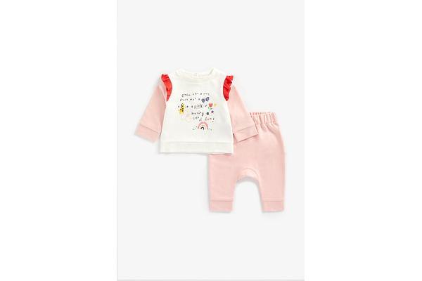 Girls Full Sleeves Jog Set Frill Detail - Pink