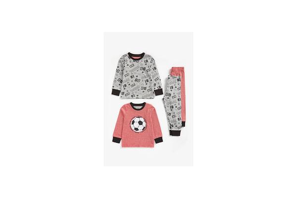 Boys Full Sleeves Pyjama Set Football Patchwork - Pack Of 2 - Multicolor