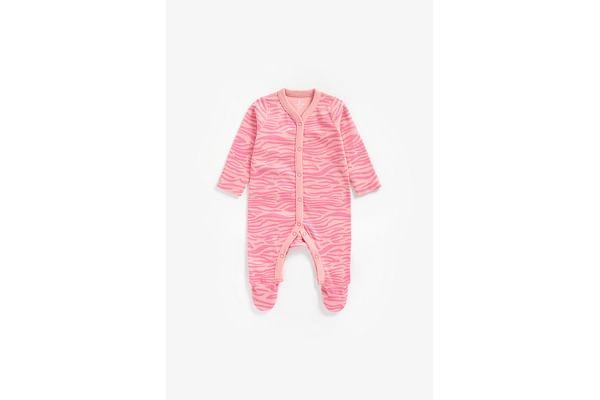 Girls Full Sleeves Romper Zebra Print - Pink