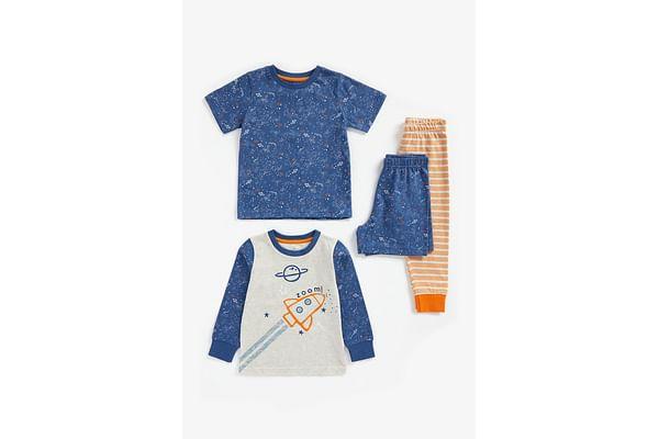 Boys Full Sleeves Pyjama Set Rocket Print - Pack Of 2 - Multicolor