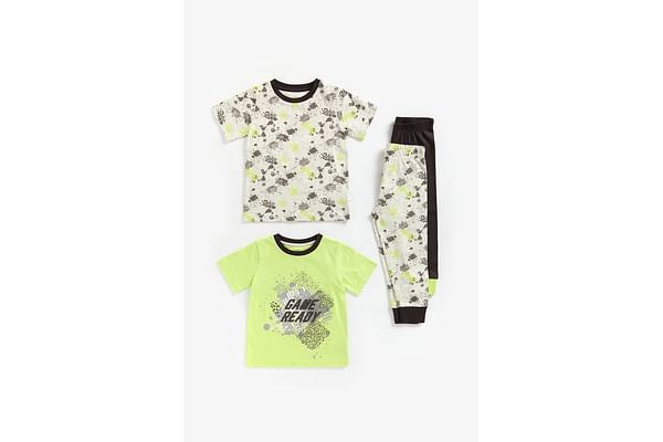 Boys Hal Sleeves Pyjama Set Textured Slogan Print - Pack Of 2 - Multicolor