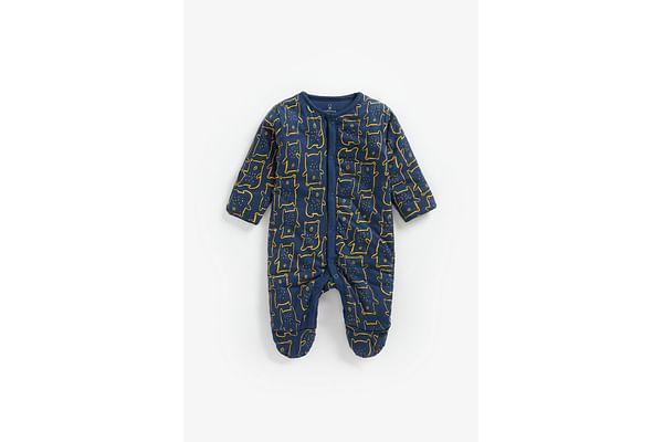 Boys Full Sleeves Wadded Sleepsuit Bear Print - Navy