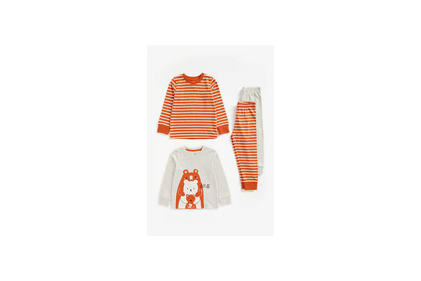 Boys Full Sleeves Pyjama Set Bear Patchwork - Pack Of 2 - Multicolor