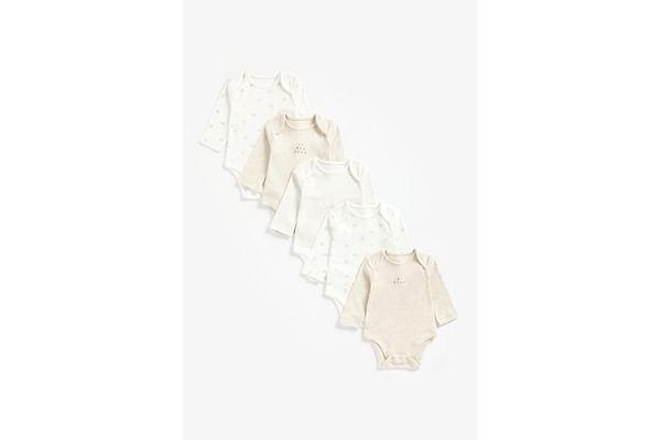 Unisex Full Sleeves Bodysuit Printed And Striped - Pack Of 5 - Beige