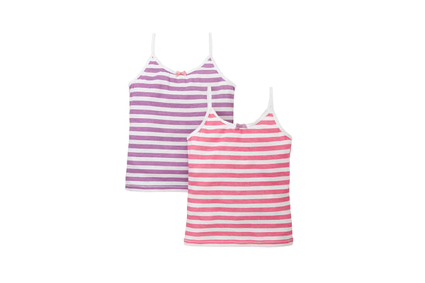 Girls Stripe Cami Vests -Pack Of 2 - White
