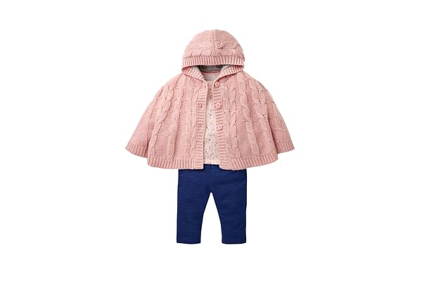 Girls Jeggings, Floral Top And Knitted Cape Set - Multicolor