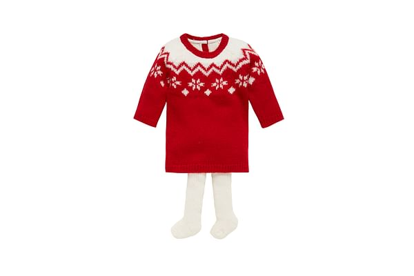 Girls Fairisle Dress With Tights  - Red