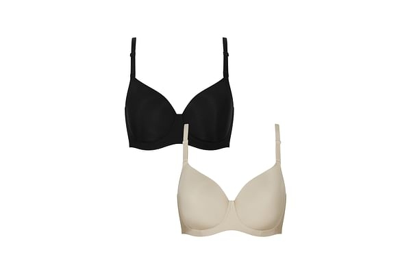 Black And Nude Smoothing T-Shirt Bras - 2 Pack
