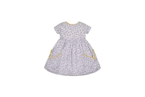 Grey Floral Pocket Dress